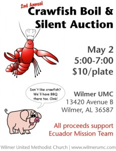 Crawfish Boil and Silent Auction Flyer