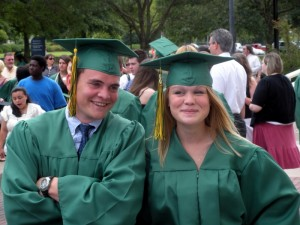 Christian and Lauren getting ready to graduate